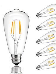 Недорогие -6шт 4 W LED лампы накаливания 360 lm E26 / E27 ST64 4 Светодиодные бусины COB Диммируемая Тёплый белый Холодный белый Естественный белый 220-240 V