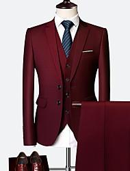 billiga -Herr kostymer, Enfärgad Hakslag Polyester Vin / Ljusblå / Marinblå XXXXL / XXXXXL / XXXXXXL