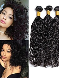 cheap -3 Bundles Brazilian Hair Water Wave Remy Human Hair Headpiece Natural Color Hair Weaves / Hair Bulk Extension 8-28 inch Natural Color Human Hair Weaves Odor Free Gift New Arrival Human Hair Extensions
