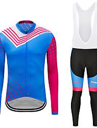 お買い得  -MUBODO 男性用 長袖 ビブタイツ付きサイクリングジャージー ブルー バイク スーツウェア 高通気性 速乾性 反射性ストリップ スポーツ メッシュ マウンテンサイクリング ロードバイク 衣類 / 伸縮性あり