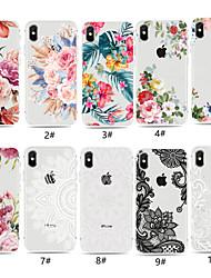Недорогие -Кейс для Назначение Apple iPhone XS / iPhone XR / iPhone XS Max Прозрачный / С узором Кейс на заднюю панель Цветы Мягкий ТПУ