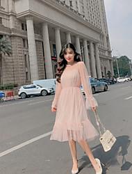 رخيصةأون -فستان نسائي ثوب ضيق طول الركبة لون سادة