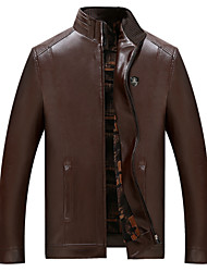 cheap -Men's Daily Basic Spring &  Fall Regular Leather Jacket, Solid Colored Stand Long Sleeve PU Brown / Black XXL / XXXL / XXXXL