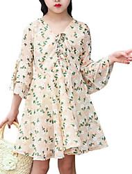 お買い得  -子供 女の子 フラワー プリント 膝上 ドレス ベージュ