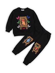 tanie -Dzieci / Brzdąc Dla chłopców Aktywny / Podstawowy Solidne kolory / Geometric Shape / Kreskówki Nadruk Długi rękaw Regularny Regularny Bawełna / Poliester Komplet odzieży Czarny