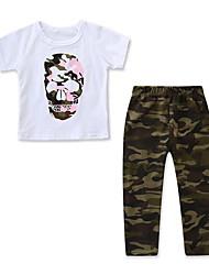 tanie -Dzieci / Brzdąc Dla dziewczynek Aktywny / Podstawowy Nadruk Nadruk Krótki rękaw Regularny Bawełna / Spandeks Komplet odzieży Biały
