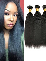 cheap -4 Bundles Brazilian Hair Yaki Straight Remy Human Hair Natural Color Hair Weaves / Hair Bulk Bundle Hair One Pack Solution 8-28 inch Natural Color Human Hair Weaves Odor Free Sexy Lady Best Quality