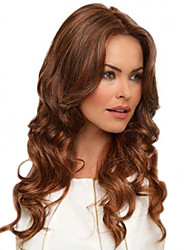 cheap -Synthetic Wig / Bangs Curly / Body Wave Style Middle Part Capless Wig Brown Brown / Burgundy Synthetic Hair 24 inch Women's Fashionable Design / Women / Synthetic Brown Wig Long Natural Wigs