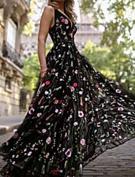 Недорогие -Жен. Классический С летящей юбкой Платье - Цветочный принт Макси