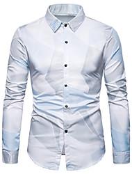 abordables -Hombre Estampado Camisa Gráfico Azul claro XL