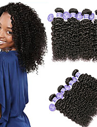 cheap -4 Bundles Indian Hair Kinky Curly Unprocessed Human Hair 100% Remy Hair Weave Bundles Headpiece Natural Color Hair Weaves / Hair Bulk Bundle Hair 8-28 inch Natural Human Hair Weaves Safety