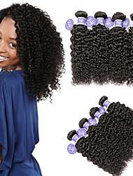 Χαμηλού Κόστους -4 πακέτα Ινδική Kinky Curly Χωρίς επεξεργασία Ανθρώπινη Τρίχα 100% πακέτα Remy μαλλιών Τεμάχια Κεφαλής Υφάνσεις ανθρώπινα μαλλιών δέσμη μαλλιών 8-28 inch Φυσικό Υφάνσεις ανθρώπινα μαλλιών