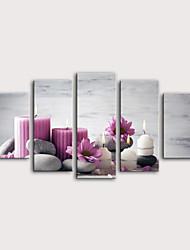 Недорогие -С картинкой Роликовые холсты Отпечатки на холсте - Натюрморт Цветочные мотивы / ботанический Modern 5 панелей Репродукции