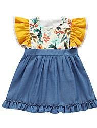 hesapli -Bebek Genç Kız Temel Çiçekli Kolsuz Pamuklu Elbise Sarı