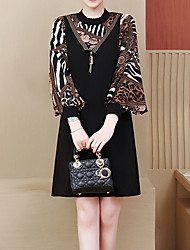 رخيصةأون -فستان نسائي ثوب ضيق أساسي طول الركبة هندسي