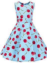 お買い得  -子供 女の子 ヴィンテージ かわいいスタイル 果物 プリント ノースリーブ 膝丈 コットン ドレス ブルー