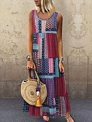 Недорогие -женское платье макси свинг фиолетовый красный зеленый s m l xl