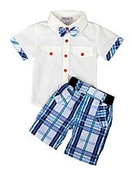 tanie -Dzieci / Brzdąc Dla chłopców Podstawowy Solidne kolory / Geometric Shape / Kratka Łuk / Nadruk Krótki rękaw Regularny Regularny Bawełna / Poliester Komplet odzieży Biały