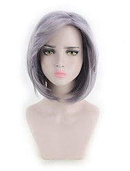 cheap -Synthetic Wig kinky Straight Style Middle Part Capless Wig Purple Purple Synthetic Hair 12 inch Women's Women Purple Wig Short Natural Wigs