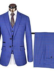 preiswerte -Dunkelblau / Aquamarin / Dunkel Gray Kombo Solide Weite Passform Polyster Anzug - Fallendes Revers Einreiher - 2 Knöpfe