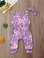 hesapli -2adet Bebek Genç Kız Temel Çiçekli Çiçek Tarzı Kolsuz Pamuklu / Polyester Tek Parça Mor