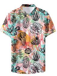 お買い得  -男性用 シャツ フラワー ピンク XL