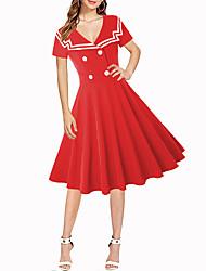 Недорогие -Жен. С летящей юбкой Платье Рубашечный воротник До колена