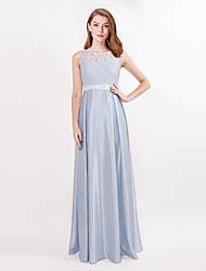 cheap -A-Line Jewel Neck Floor Length Satin Bridesmaid Dress with Pleats by LAN TING Express