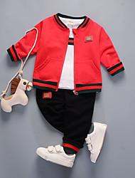 Недорогие -малыш Мальчики Классический Однотонный Длинный рукав Обычный Обычная Хлопок / Спандекс Набор одежды Черный