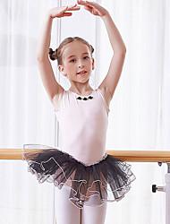 levne -Dětské taneční kostýmy / Balet Šaty Dívčí Trénink / Výkon Bavlna Krajka / Rozdělení Bez rukávů Přírodní Šaty