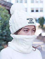 voordelige -Dames Actief Standaard leuke Style Katoen Acryl Polyester,Effen Floppy hoed-Herfst Winter Beige Grijs Wijn