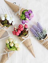 billige -Kunstige blomster 1 Gren Klassisk Moderne Moderne Europeisk Roser Lyseblå Evige blomster Bordblomst