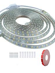 billige -KWB 7m Fleksible LED-lysstriber 420 lysdioder SMD5050 1Sæt monteringsbeslag Varm hvid / Hvid / Rød Vandtæt / Chippable / Dekorativ 220-240 V 1set