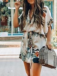 baratos -Mini vestido de uma linha feminina profunda v branco azul s m l xl