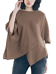 baratos -Mulheres Camiseta Sólido Preto XL