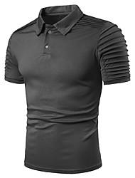 Недорогие -Муж. Плиссировка Размер ЕС / США - Polo Хлопок, Рубашечный воротник Классический Однотонный Темно синий / С короткими рукавами