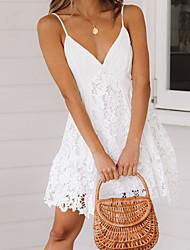 Недорогие -Жен. Изысканный Элегантный стиль Оболочка Платье - Однотонный Контрастных цветов Выше колена