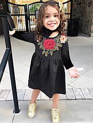 hesapli -Çocuklar / Toddler Genç Kız Actif / Temel Çiçekli / Geometrik Nakış / Desen Uzun Kollu Diz-boyu Pamuklu / Polyester Elbise Siyah