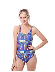 abordables -Mujer Azul Piscina Pícaro Una Pieza Bañadores - Geométrico Estampado S M L Azul Piscina