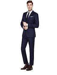 billiga -Svart / Mörk Marin / Färgat Grå Enfärgad Skräddarsydd passform Kostym - Spetsig Singelknäppt Två knappar