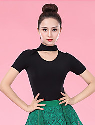 cheap -Ballroom Dance Tops Women's Performance Ice Silk Ruching Short Sleeve Top
