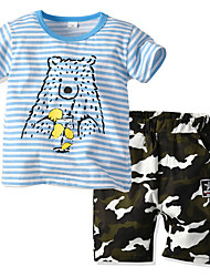 hesapli -Bebek Genç Erkek Sokak Şıklığı Geometrik Kısa Kollu Normal Polyester Kıyafet Seti Havuz