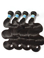 baratos -4 pacotes Cabelo Brasileiro Onda de Corpo Cabelo Natural Remy Cabelo Humano Peça para Cabeça Cabelo Humano Ondulado Extensor 8-28 polegada Côr Natural Tramas de cabelo humano Criativo Macio Nova