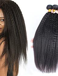 economico -3 pacchetti Brasiliano Yaki liscia capelli naturali Remy Ciocche a onde capelli veri Estensore Bundle di capelli 8-28 pollice Colore Naturale Tessiture capelli umani Soffice Classico Adorabile