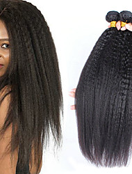 baratos -3 pacotes Cabelo Brasileiro Yaki Liso Cabelo Natural Remy Cabelo Humano Ondulado Extensor Cabelo Bundle 8-28 polegada Côr Natural Tramas de cabelo humano Macio Clássico Adorável Extensões de cabelo