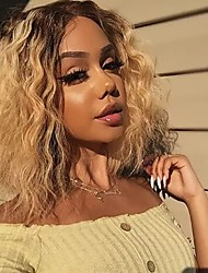 cheap -Synthetic Extentions Body Wave Beyonce Style Middle Part Capless Wig Golden Golden Blonde Synthetic Hair 14 inch Women's Party / Women / Synthetic Golden Wig Medium Length 150% Density Cosplay Wig