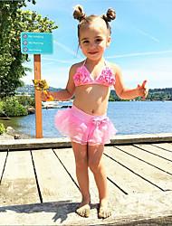 hesapli -Toddler Genç Kız sevimli Stil Solid Bağcık Kolsuz Pamuklu / Polyester Mayolar Doğal Pembe