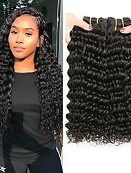 tanie -6 pakietów Włosy indyjskie Deep Wave Włosy naturalne Nieprzetworzone włosy naturalne Nakrycie głowy Fale w naturalnym kolorze Doczepy 8-28 in Kolor naturalny Ludzkie włosy wyplata Miękka Najwyższa