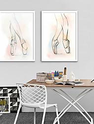 Недорогие -Холст в раме Набор в раме - Люди Спорт Пластик Иллюстрации Предметы искусства