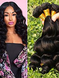 Недорогие -4 Связки Бразильские волосы Свободные волны человеческие волосы Remy Человека ткет Волосы Пучок волос One Pack Solution 8-28inch Естественный цвет Ткет человеческих волос / Необработанные